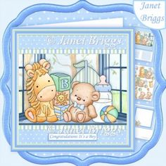 BABY BOY SHELF 8x8 Decoupage & Insert Mini Kit