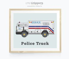 Police Truck wall art Toddler Room Decor, Nursery Decor Boy, Boys Room Decor, Nursery Neutral, Kids Decor, Car Wall Art, Art Wall Kids, Art Kids, Little Boys Rooms