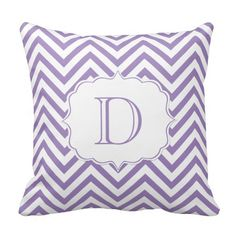 Purple and White Chevron Pattern Monogram Pillow. Personalize with your own initial.