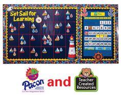 This nautical board features both Pacon® and Teacher Created Resources products! It was created with Fadeless® Premium Glossy Nautical Navy,...
