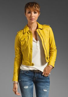 yellow leather jacket - Google Search