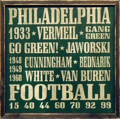 """Country Marketplace - Vintage Philadelphia #Eagles Wood Sign 18"""" x 1""""(http://www.countrymarketplaces.com/vintage-philadelphia-eagles-wood-sign-18-x-18/)"""