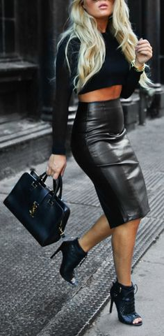 Stylish High-Waisted Pure Color Faux Leather Skirt For Women