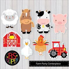 Check out our farm baby shower selection for the very best in unique or custom, handmade pieces from our paper & party supplies shops. Farm Party Favors, Barnyard Party, Farm Animal Cupcakes, Down Syndrom, Farm Birthday, Birthday Cake, Farm Theme, Party Centerpieces, Animal Party