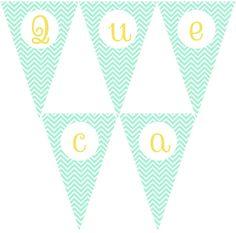 Imprimible gratis: Banderines letras chevron mint, By Queca Coqueta.