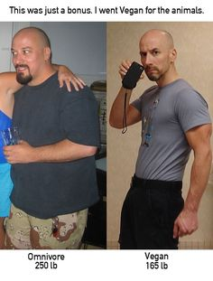 """Dave Clovers before (44) and after (49). """"I'd encourage anyone struggling with weight to consider veganism. It won't automatically make you lean, but it's a huge help. The left photo was me at my biggest around 2006 with a 42 inch waist! On the right 30 inch waist. Since I started to focus on strength training over endurance work I hover comfortably around 180 pounds."""