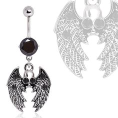 316L Surgical Steel Gothic Winged Skull Navel Ring