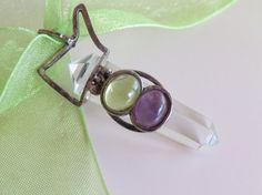 Vintage quartz amethyst and peridot silver pendant by Olablingola, $30.00