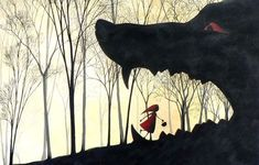 Isabelle Anglade - illustrator - Little Red-Riding Hood - Le petit Chaperon Rouge Little Red Hood, Little Red Ridding Hood, Red Riding Hood, Charles Perrault, Big Bad Wolf, Fairytale Art, Children's Book Illustration, Food Illustrations, Portfolio Illustration