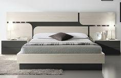 Habitación doble estilo nórdico y cabecero formas