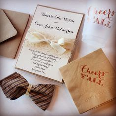 Burlap and Lace wedding invitations with kraft paper and foil printed napkins and cups.  A touch of indigo blue warms it up.