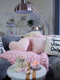 Grob gestrickte Decke chunky Knit rosa Decke chunky von SaintWools