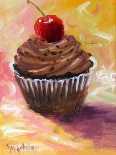 Food Print Chocolate Cupcake Cherry on Top by artprintsbycheri, $15.00
