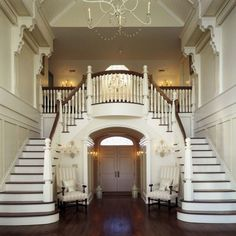 homes with two staircases sweeping style : Grand Homes With Two Staircases. double staircase homes,home staircases,house two staircases,houses with two staircases,two way staircase design Luxury Staircase, Double Staircase, Grand Staircase, Staircase Design, Staircase Architecture, House Ideas, Villa, House Entrance, Entrance Design