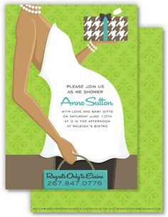 Pregnant Belly Green African American Baby Shower Invitation