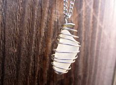 Only $5!?!   Wire Wrapped Sea Glass Stone Necklace // Natural by hardlyExpected