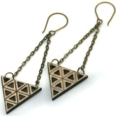 etched and cut triangle earrings