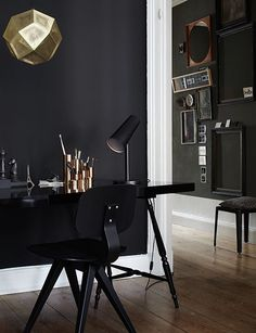 black walls, metal accents.