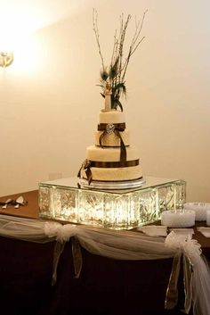 Glass Block Cake Stand....lights???