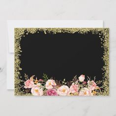 Save the Date Black Gold Glitters Pink Floral Gold#Glitters#Pink#Black