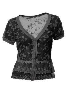 gothic Shirtjacke mit Kirschblüten-Muster