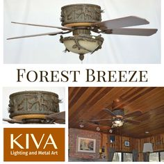Our popular Copper Canyon Forest Breeze Ceiling Hugger Fan is now available as a ceiling hugger model for rooms with limited ceiling clearance. Cabin Lighting, Rustic Lighting, Painted Pinecones, Fan Lamp, Ceiling Fans, Metal Art, Breeze, Lamps, Copper
