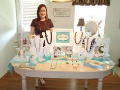 stella and dot trunk show photo. Love the framed Stella & Dot sign.