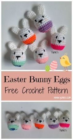 A free crochet amigurumi pattern for Beginners. Easter Bunny eggs make great gift for easter.