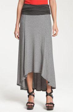 Olivia Moon Stripe Maxi Skirt with High/Low Hem