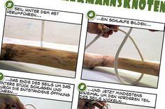 Bauanleitung für selbst gemachte Kleiderstange aus eine Ast mit zwei Baumwollseilen
