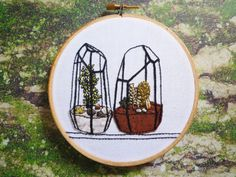 FRIDAY FRENZY   etsyfindoftheday 4   4.15.16'two terrariums' contemporary hoop art by cheesebeforebedtimegorgeous. and for someone like me who is a perpetual plant killer … an embroidered terrarium may be my best bet ;)