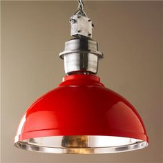 Large Industrial Enameled Shade Warehouse Pendant