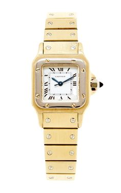 1980's Ladies 18K Yellow And White Gold Cartier Santos