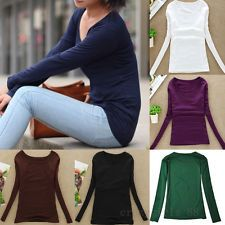 Women Casual Long Sleeve Scoopneck Round Collar Solid Color Top Blouse T-Shirt