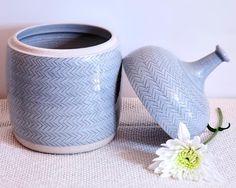Blue-Gray Glazed Stoneware Jar w/ Herringbone Detail
