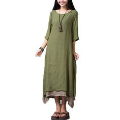 Maxi Dresses Summer Women Vintage Loose Long Dress Plus Size