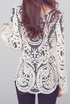 Women's Semi Sexy Sheer Long Sleeves Embroidery Floral Lace Crochet Top Blouse Tee