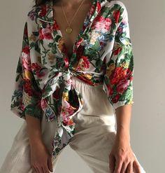 Floral satin like sleep tunic/blouse