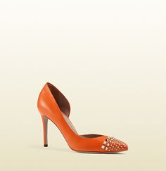 Gucci Red Studded D'Orsay Leather Pump; $695.00