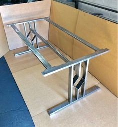 Design Dining Table Base, Three Bars With Diamond, Set of 2 Steel Steel And 2 Braces* Furniture Dolly, Metal Furniture, Rustic Furniture, Furniture Design, Mirrored Furniture, Modular Furniture, Furniture Assembly, Steel Table Legs, Dining Table Legs