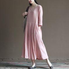 2016 pink linen summer maxi dresses plus size maternity dress half sleeve