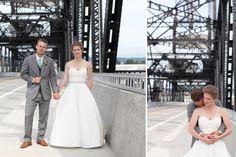 Tacoma wedding photographer seattle wedding ross waterway seaport urban grace downtown church rachael kruse photography  wright park bride and groom on bridge