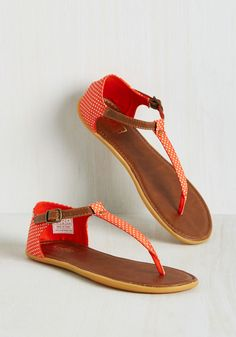 Dots of Promise Sandal in Mandarin by Keds - Coral, White, Polka Dots, Casual, Beach/Resort, Darling, Good, Variation, Flat, T-Strap, Summer