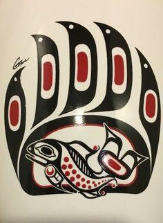 Bear paw n killer Whale Inuit Kunst, Haida Kunst, Arte Inuit, Arte Haida, Haida Art, Inuit Art, Native American Symbols, Native American Design, American Indian Art