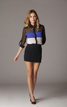 The contrast in this color block blouse is what will make this sheer chiffon top adapt to any mood and any setting. Whatever the activity may require, you can always put up these easy rolling sleeves up and get your hands dirty.  Tuck it into a pencil skirt or let it all hang out with your favorite skinnies. $16.66