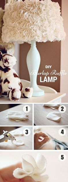 20 Easy DIY Lamp Ideas for Creative Home Decor on a Budget - Make this easy DIY burlap ruffle lampshade Lampe Decoration, Diy Y Manualidades, Creation Deco, Idee Diy, Bedroom Lamps, Diy Bedroom, Bedroom Ideas, Lampshades, Burlap Lampshade