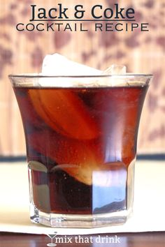 The Jack and Coke is a classic, easygoing cocktail that blends Jack Daniels whiskey with cola. It's not fancy, but that's exactly what makes it so good. Jack Daniels Cocktails, Manly Cocktails, Classic Cocktails, Bourbon Drinks, Whiskey Cocktails, Jack And Coke Recipe, Coke Recipes, Drink Recipes, Vodka Cranberry Cocktail