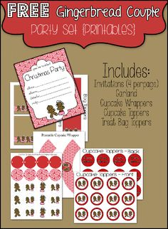 Too overwhelmed to throw a Christmas party? Use these free printables! Includes invitations, decorations, treat bag toppers and more to throw an adorable Christmas party!