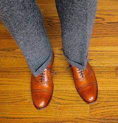 Norman Hilton, J. Press Flap pocket OCBD, Polo tie, Royal Silk square, O'Connell's Shetland wool trousers, LE OTC wool socks, AE Strands