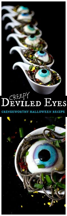 Deviled Eyes in Garlicky Black Bean Spaghetti Spoons, get this realistic Deviled Eyes made out of boiled eggs nestled on black spaghetti recipe halloween recipes food Sac Halloween, Yeux Halloween, Halloween Goodies, Halloween Food For Party, Creepy Halloween, Holidays Halloween, Halloween Crafts, Halloween Decorations, Halloween Costumes